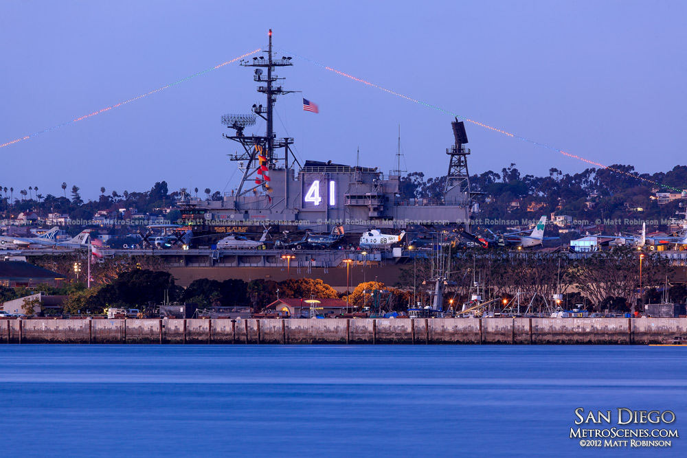 USS Midway San Diego at night