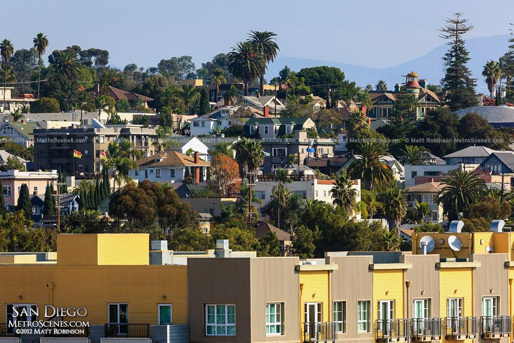 San Diego homes on a hillside