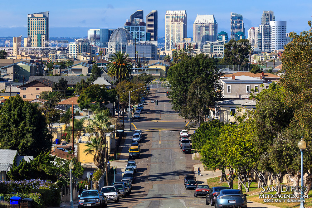J Street with the San Diego Skyline from Grant Hill Park