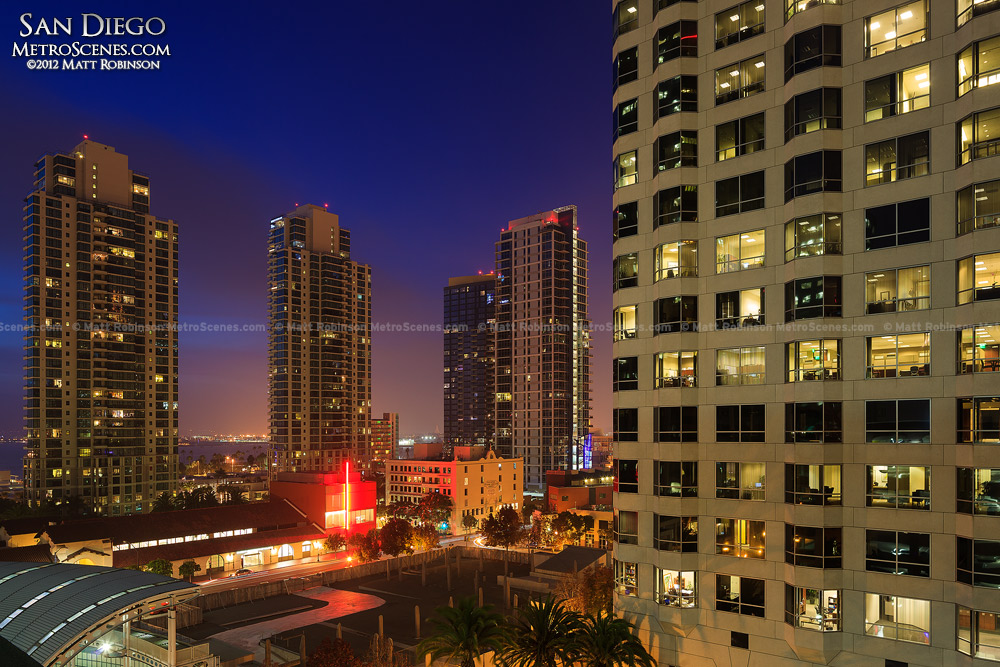 Downtown San Diego Buildings at night
