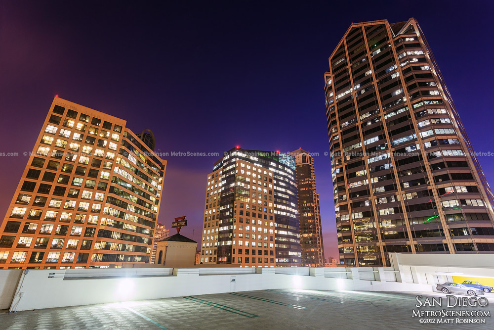 One America Plaza in San Diego at night