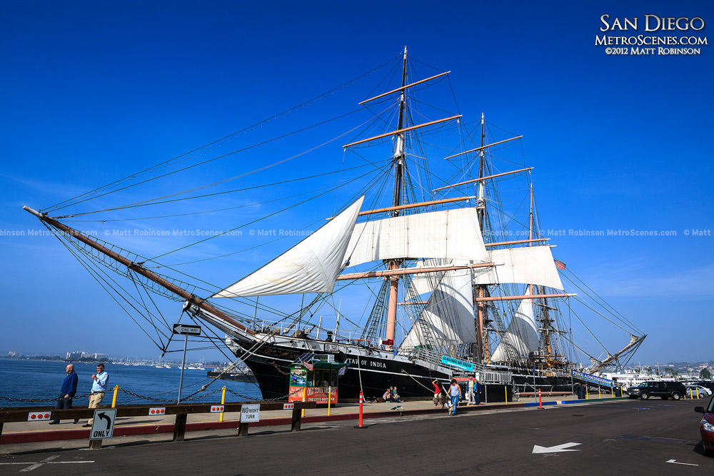 The Spirit of India ship with blue skies in San Diego