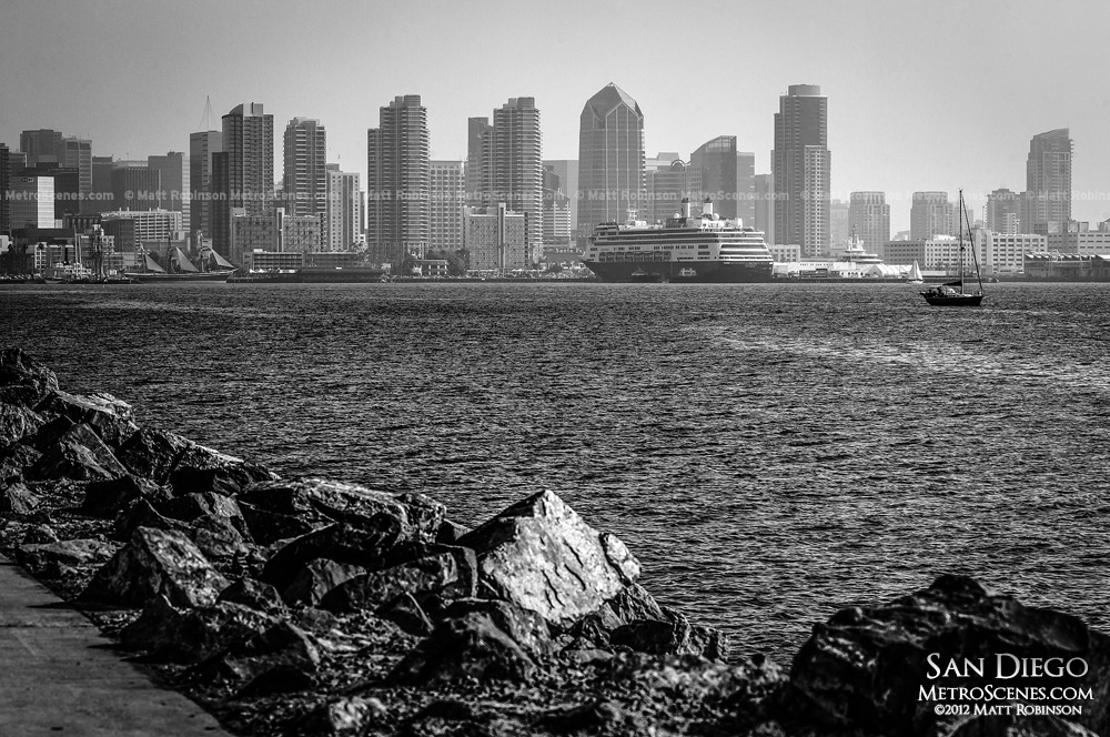 Black and white San Diego skyline from Harbor Island