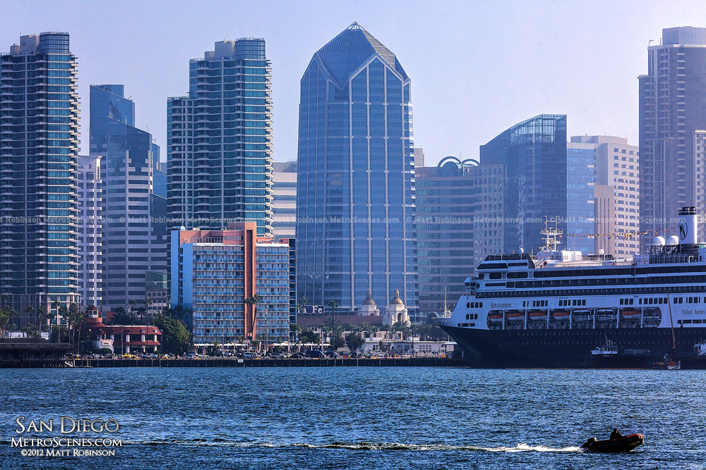 One America Plaza with cruise ship from Harbor Island