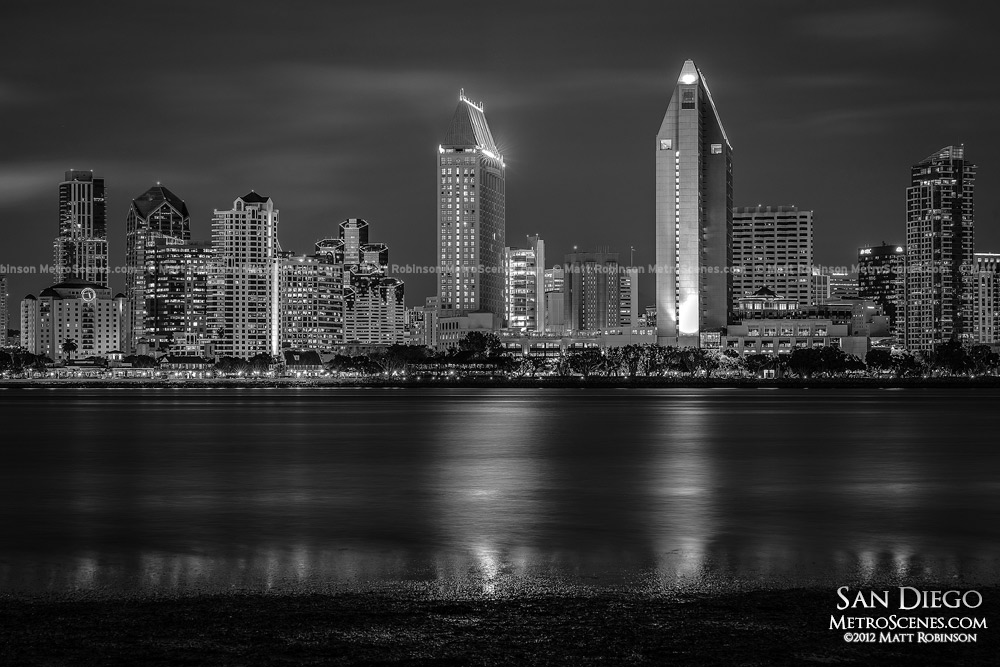 Black and White Downtown San Diego at night