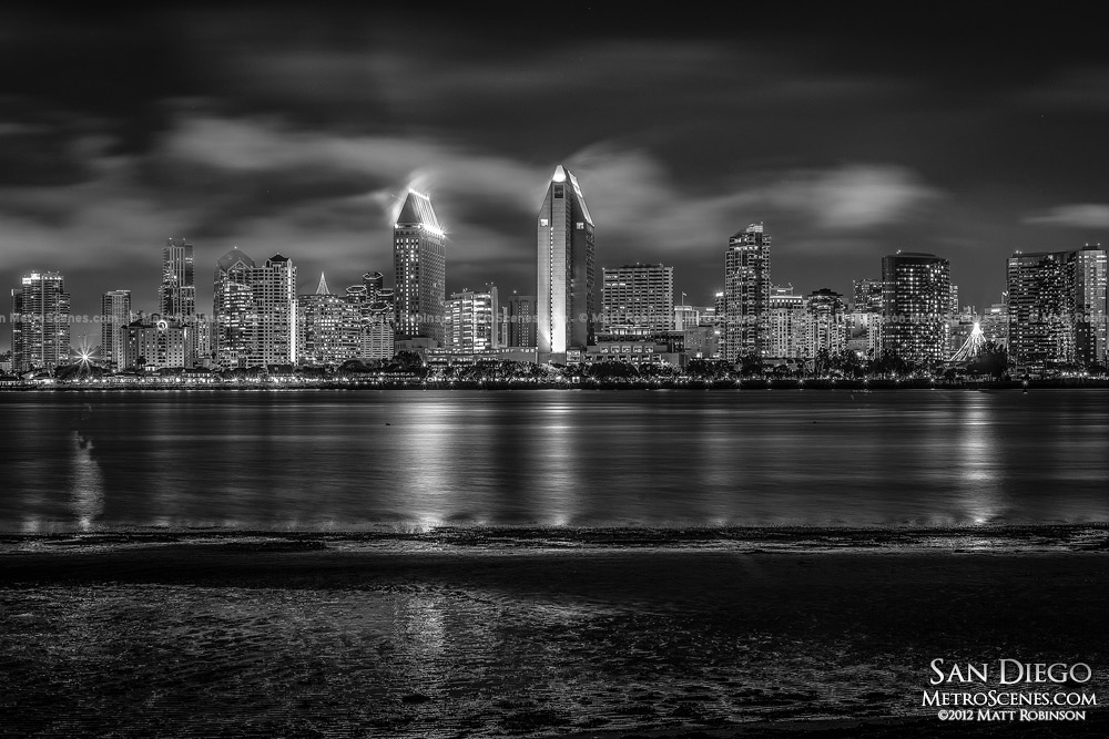 San Diego Skyline at night in Black and White