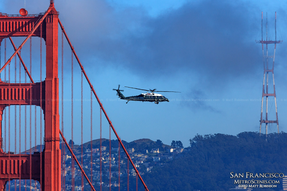 Marine One Helicopter flies past the Golden Gate Bridge