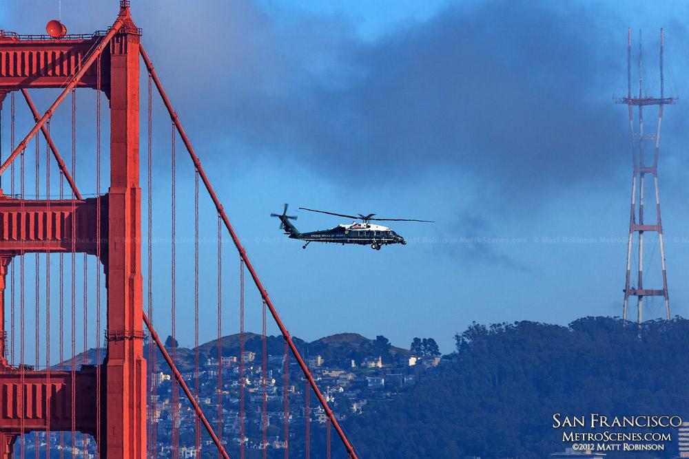 Marine One Helicopter flies past the Golden Gate Bridge