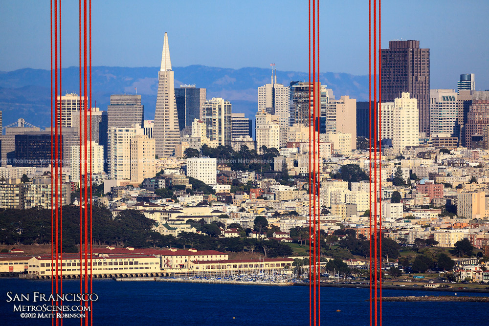 San Francisco Skyline through the Golden Gate Bridge