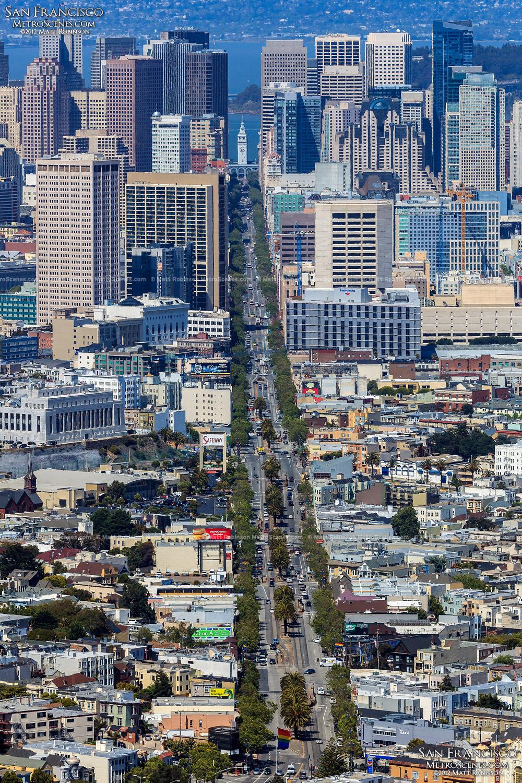 Looking down Market Street from Twin Peaks, San Francisco