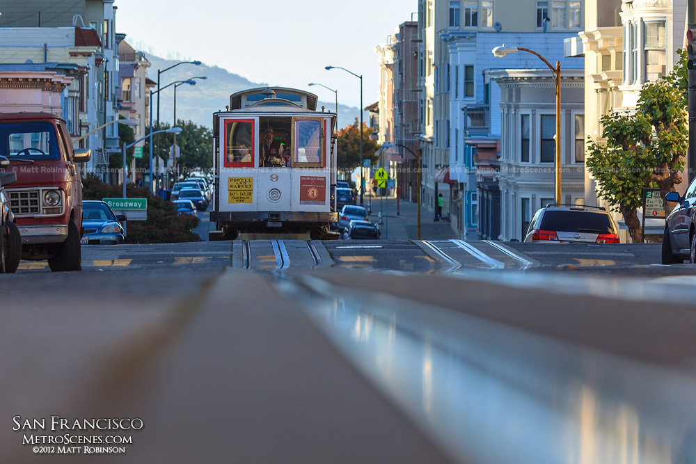 Rail level view of the Powell Mason Cable Car
