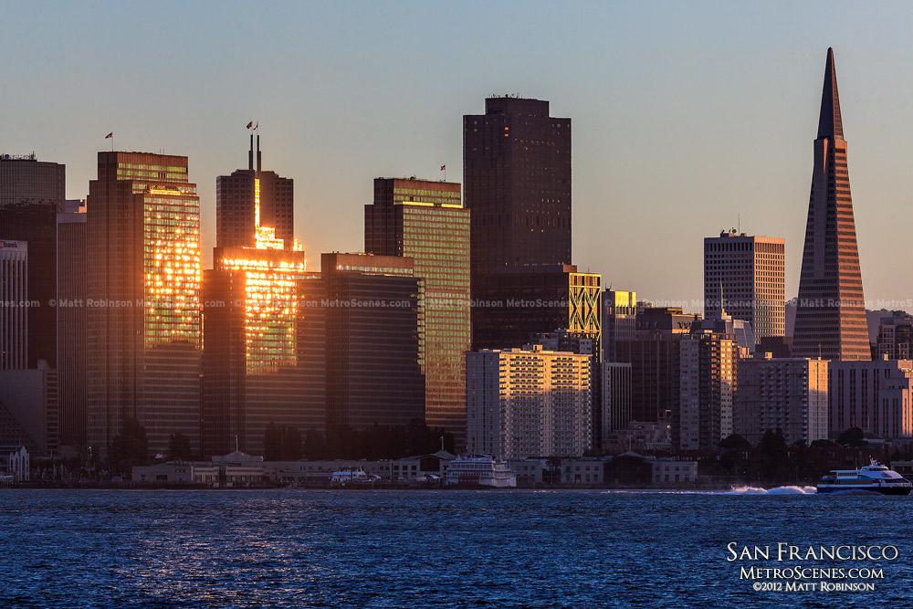 Sun reflects off of the San Francisco Skyline