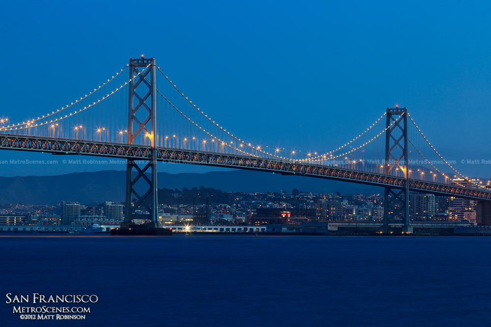 San Francisco's Bay Bridge at magic hour
