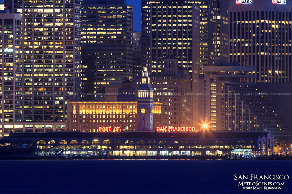 Port of San Francisco Ferry Building at night