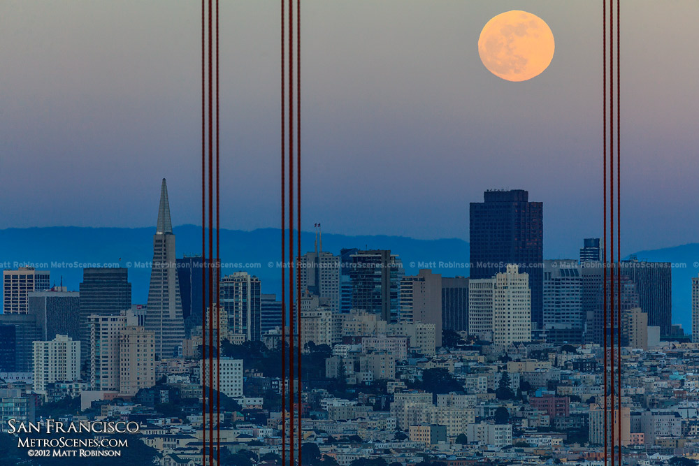 Full moon rises over 555 California Street (Bank of America Center)