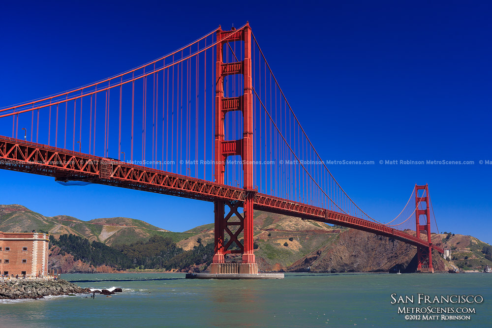 The Golden Gate Bridge with blue skies