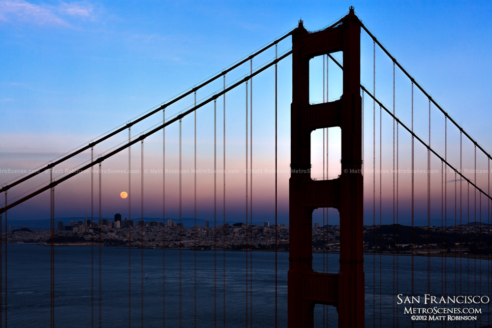 Moonrise over downtown San Francisco skyline with Golden Gate Bridge Silhouette