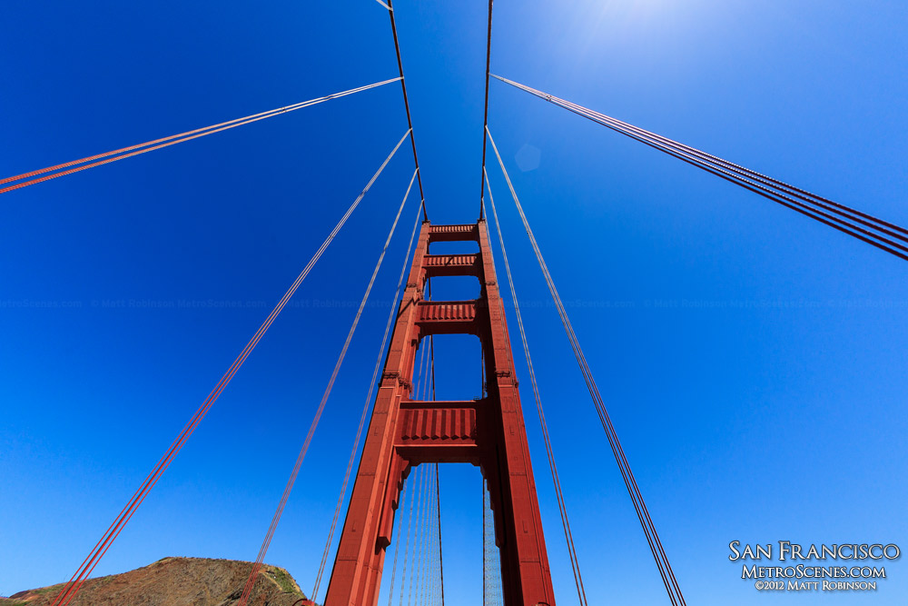Looking up at Golden Gate Bridge Tower