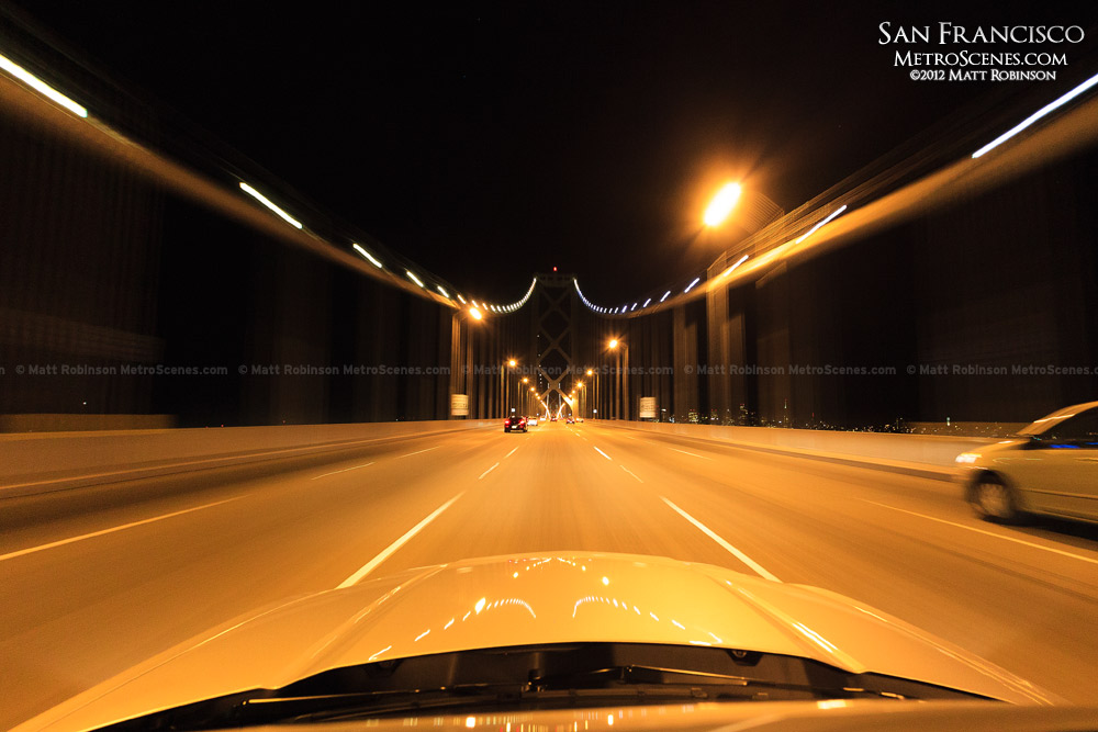 Driving over the Bay Bridge at night