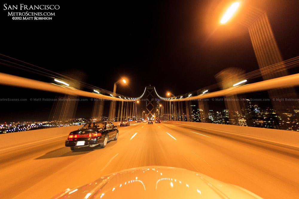 Driving over the Bay Bridge at night