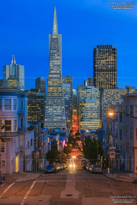 Telegraph Hill view of downtown San Francisco at night