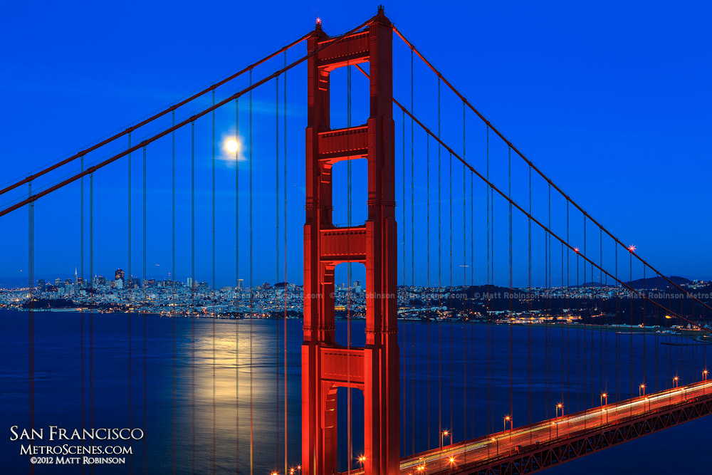 Moonrise over San Francisco and Golden Gate at magic hour