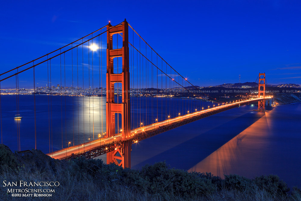 Golden Gate Bridge at night with full moon rising