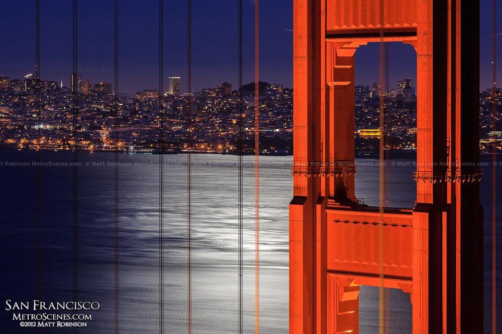 Moon illuminates the San Francisco Bay with Golden Gate Tower