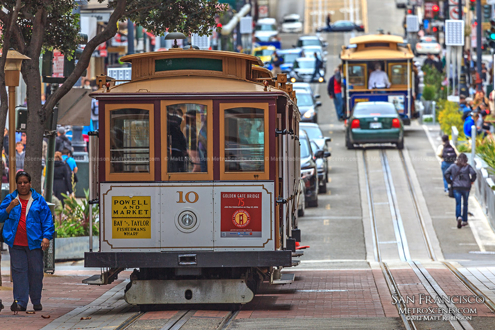 Cable Cars along Powell Street in San Francisco