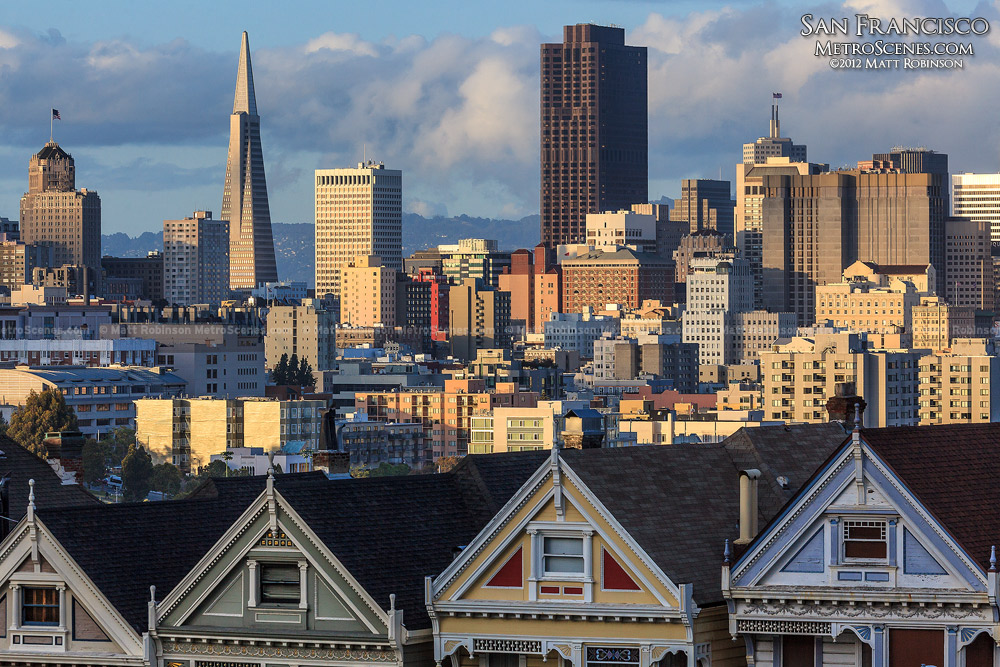 San Francisco Skyline rises above Victorian Houses