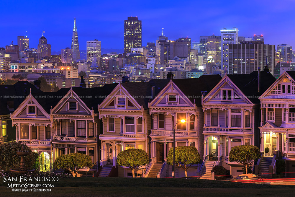 San Francisco's Painted ladies at night