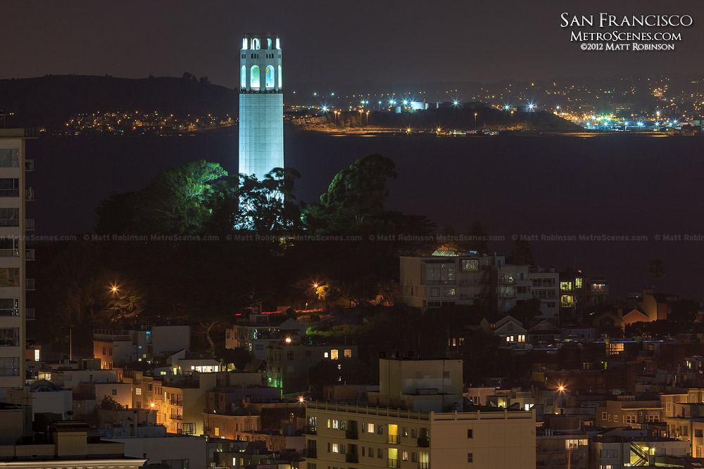 Coit Tower and Telegraph Hill at night