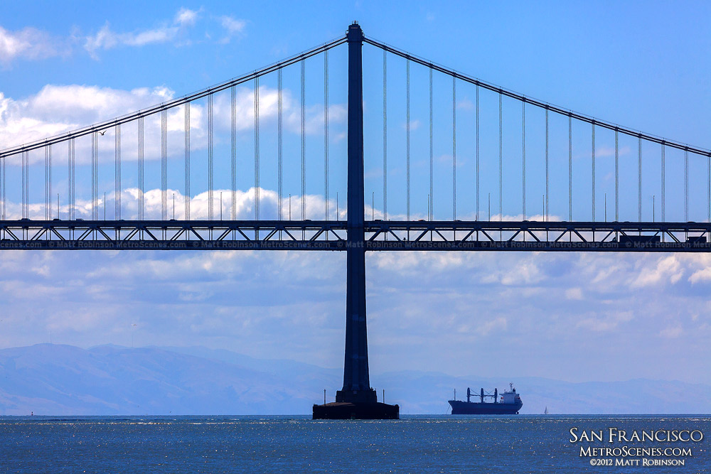 Head on view of the Bay Bridge