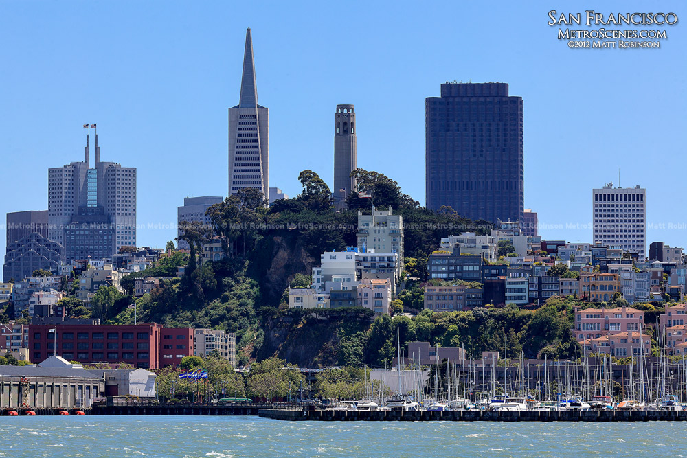 Coit Tower sits between Transamerica Pyramid and 555 California Street
