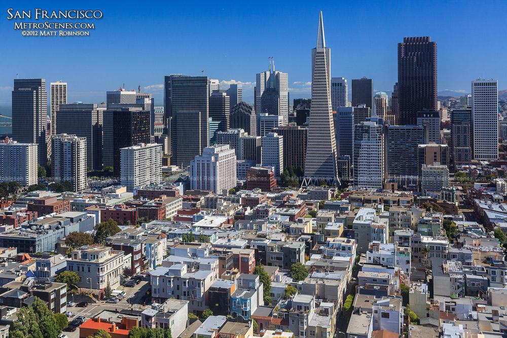 San Francisco skyline seen from Coit Tower