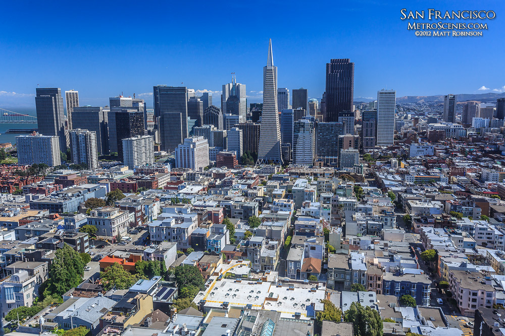 View from Coit Tower of Financial District