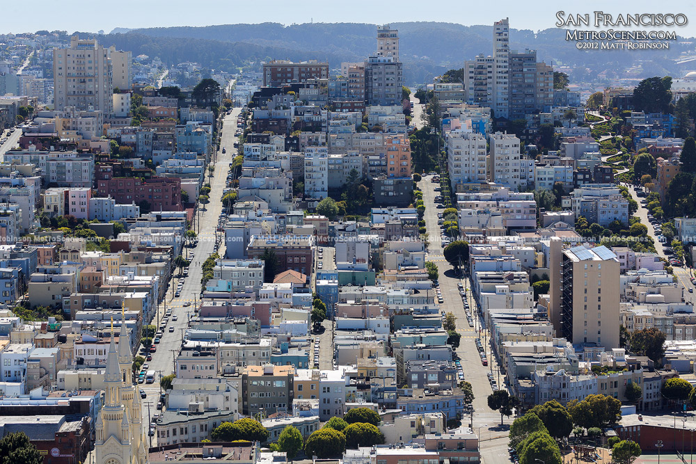 Street rows in from Coit Tower