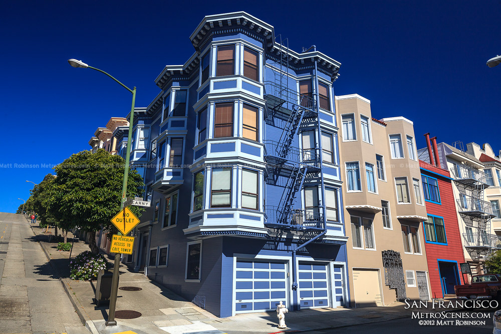 Colorful houses in Telegraph Hill in San Francisco