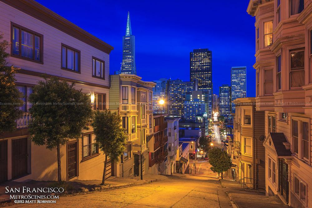 San Francisco at night from Kearny Street