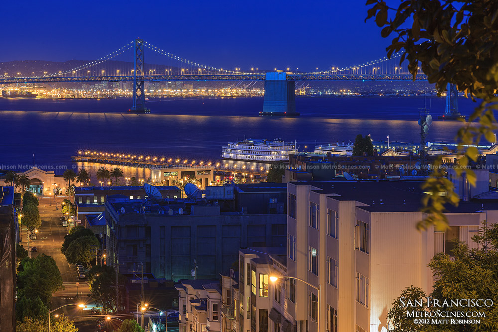 Bay Bridge at night from Telegraph Hill