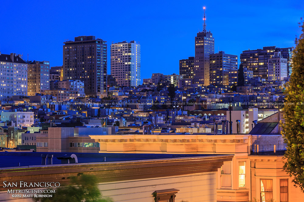 San Francisco neighborhoods at night