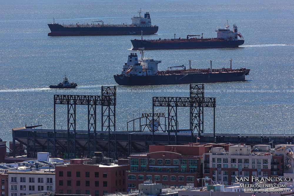 Oil Tankers float in the San Francisco Bay