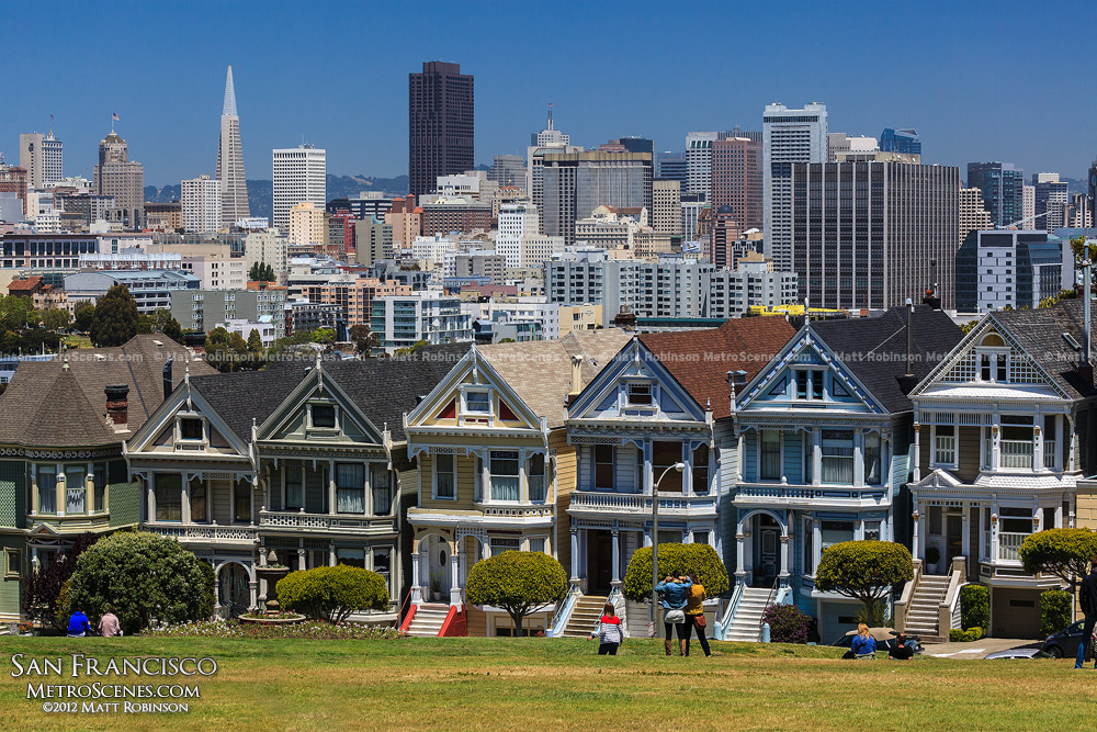 The San Francisco Painted Ladies during the day