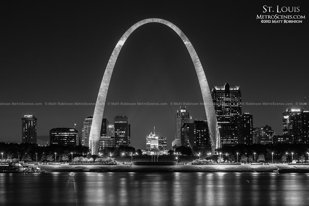 Black and White St. Louis Skyline and Gateway Arch