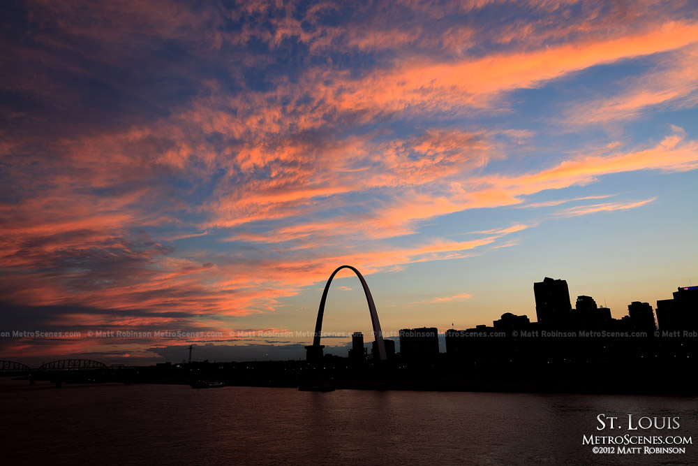 St. Louis sunset from the Eads Bridge