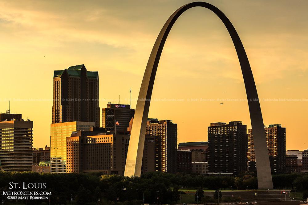 Golden St. Louis skyline from the Poplar Street Bridge