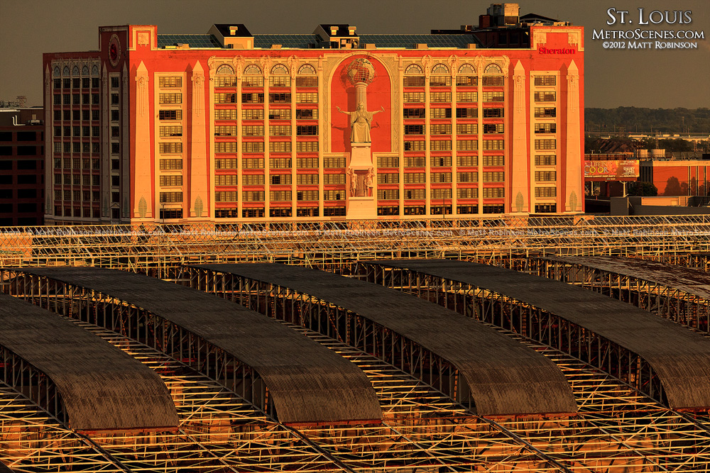 Sheraton St. Louis City Center and Union Station Rooftop at sunset