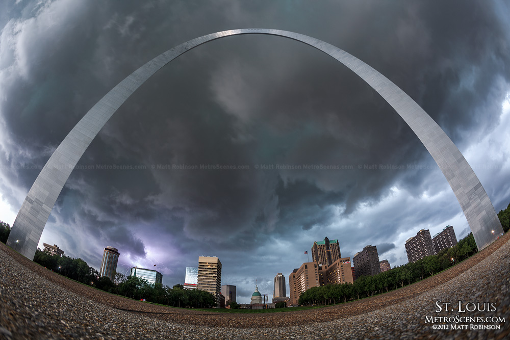 Lightning behind St. Louis and the Gateway Arch