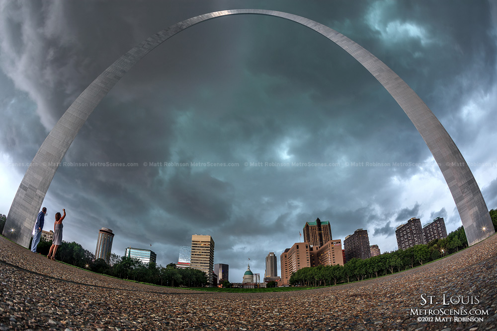 Storm clouds roll through St. Louis view under the Gateway Arch
