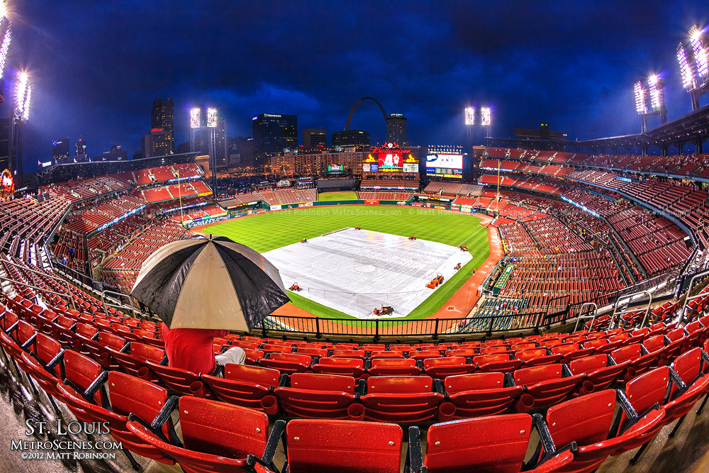 St. Louis Cardinals rain delay with umbrella at Busch Stadium